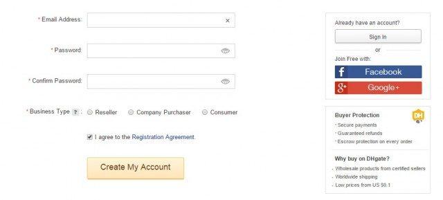 DHgate Registrace